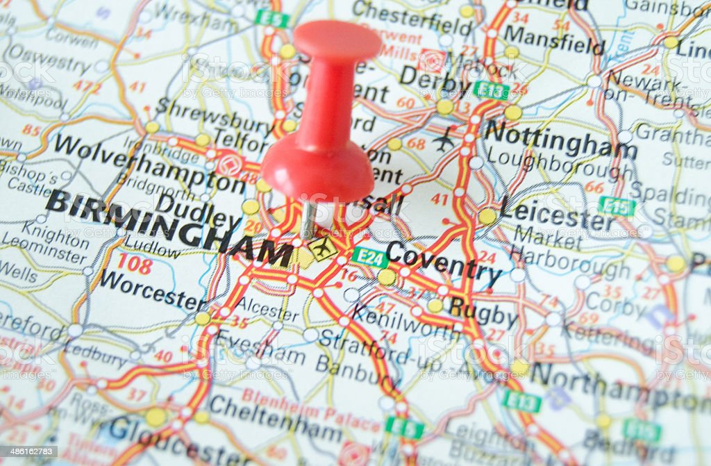Birmingham Map stock photo