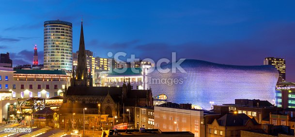 Wide angle panoramic view across the city of Birmingham at dusk. West Midlands, England, UK.