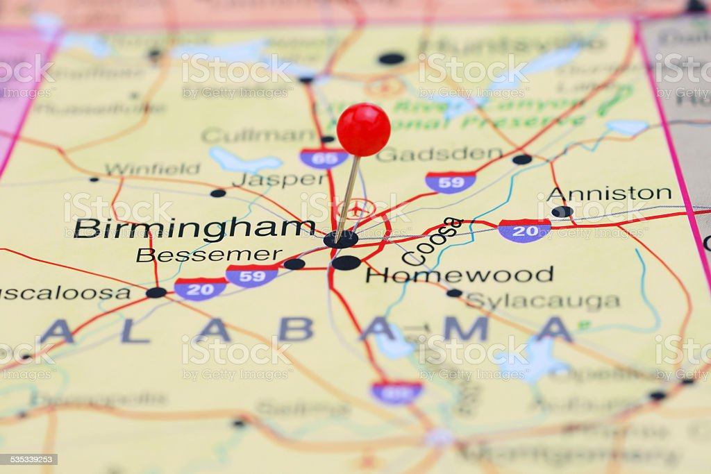 Birmingham pinned on a map of USA stock photo