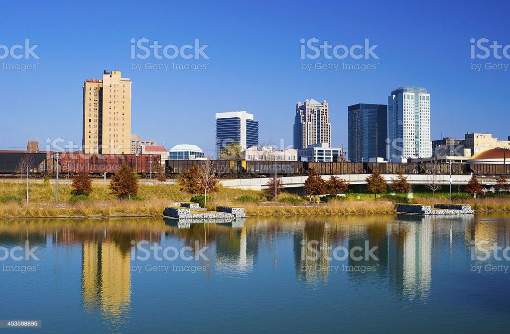 Birmingham Skyline and Water Reflection stock photo