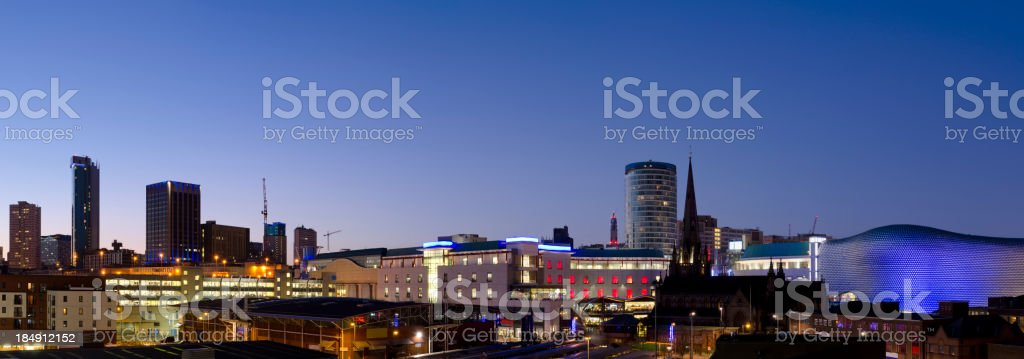 Birmingham skyline night panorama stock photo
