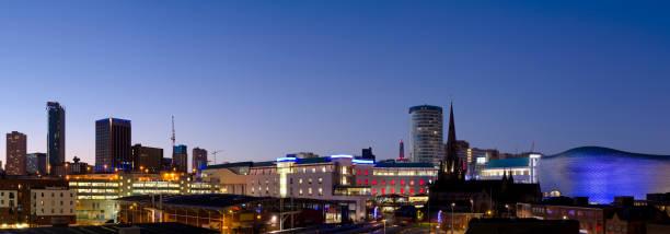Birmingham skyline night panorama stock photo
