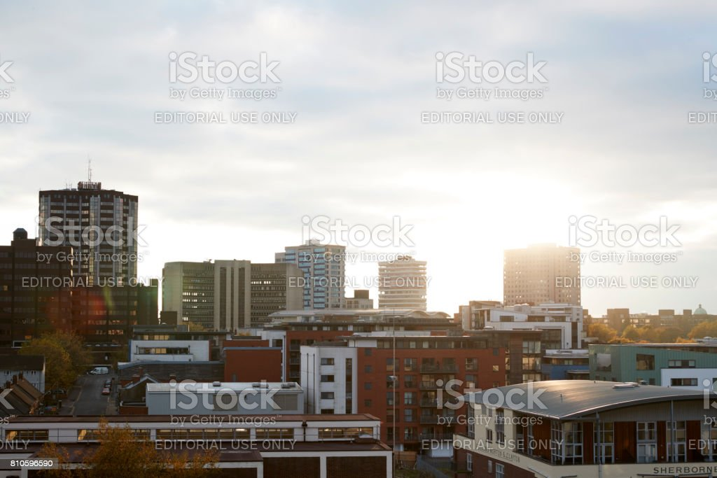 Birmingham, UK - 6 November 2016: Birmingham City Skyline At Sunset stock photo