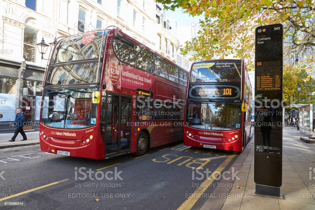 Birmingham, UK - 6 November 2016: Busy Bus Stop In Birmingham City Centre stock photo