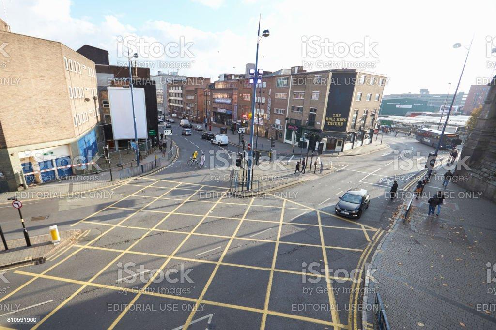 Birmingham, UK - 6 November 2016: High Angle View Of City Road Junction In Birmingham stock photo