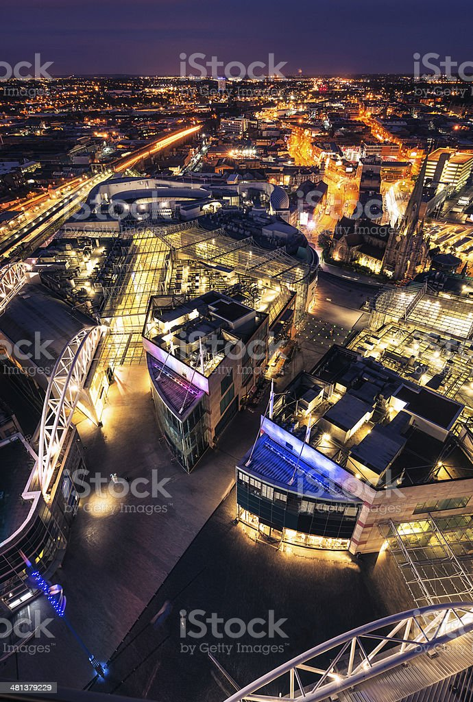 Birmingham, UK at night stock photo
