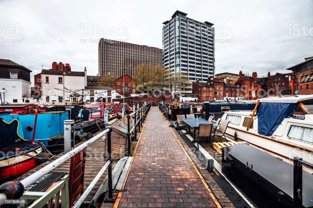 Birmingham, UK - City view from Gas Street Basin. stock photo
