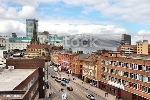 Urban cityscape in Birmingham, UK. Birmingham is the most populous British city outside London with 1.07 million residents.