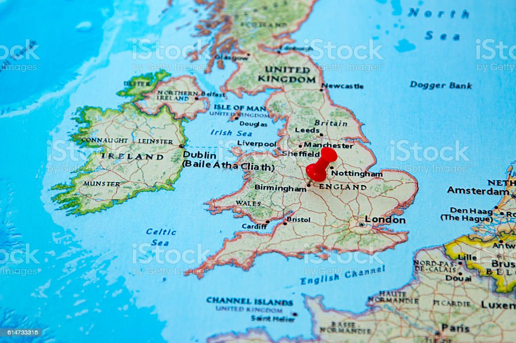 Map Of England Birmingham.Birmingham Uk Pinned On A Map Of Europe Stock Photo Download Image