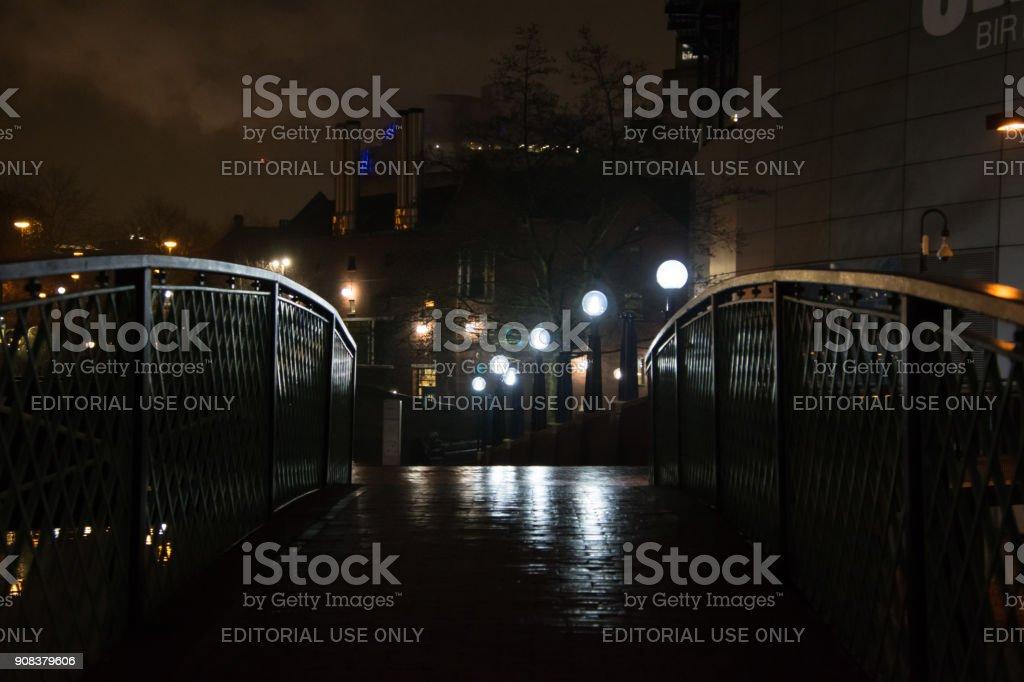 Birmingham, United Kingdom City Centre BrindleyPlace at night time stock photo