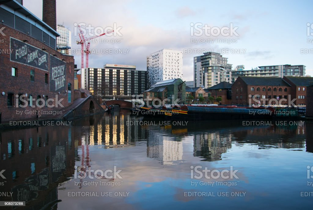Birmingham, United Kingdom City Centre canals, Brindleyplace stock photo