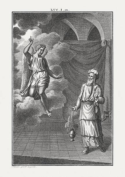 Birth Announcement of John the Baptist (Luke 1), published c.1850 – Foto