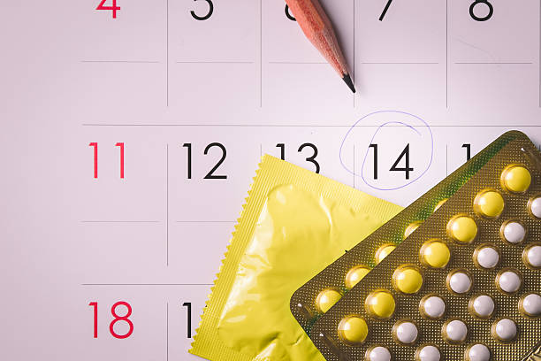 Birth control pills on calendar Birth control pills on calendar (add vignette tone) contraceptive stock pictures, royalty-free photos & images