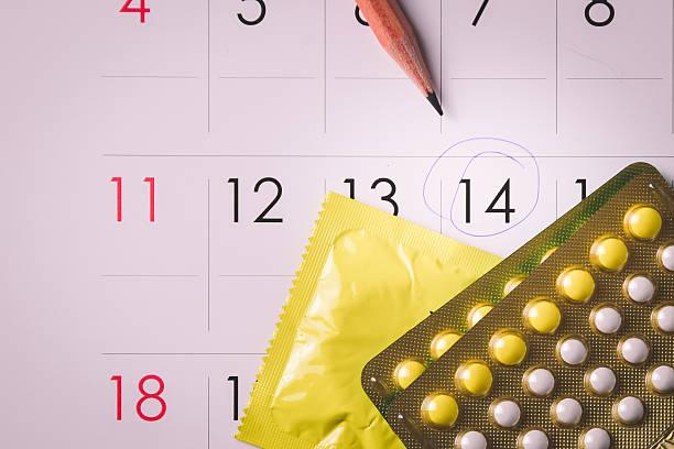 Birth control-Tabletten auf Kalender – Foto