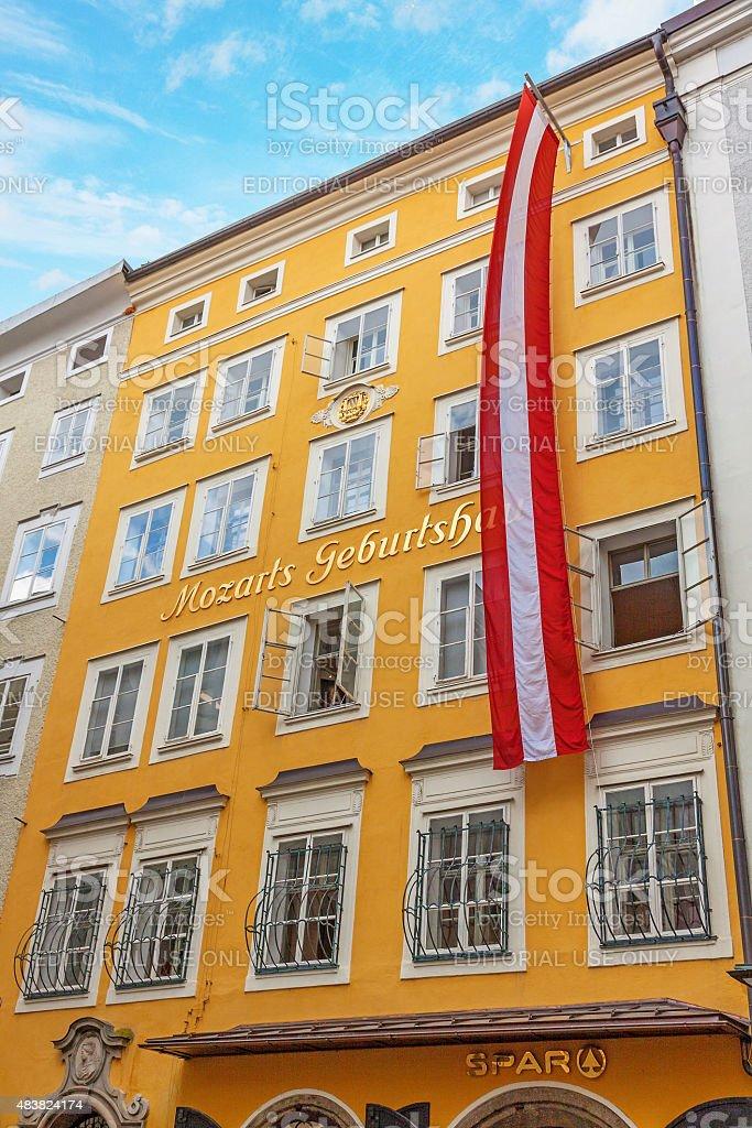 Birth house of Wolfgang Amadeus Mozart, Salzburg stock photo