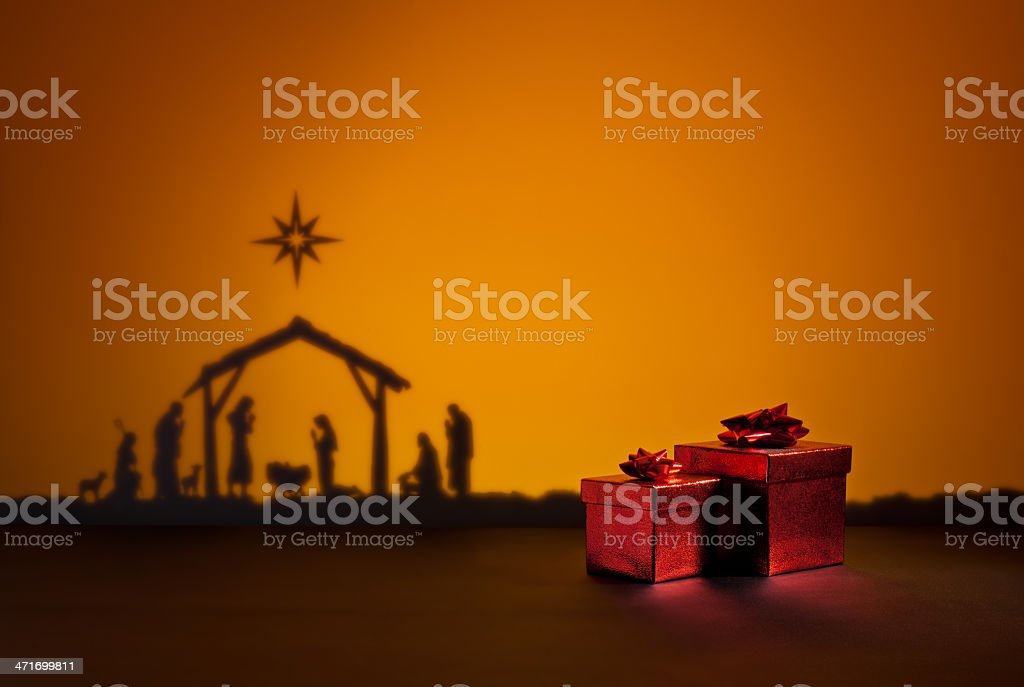 Birth Jesus with present royalty-free stock photo