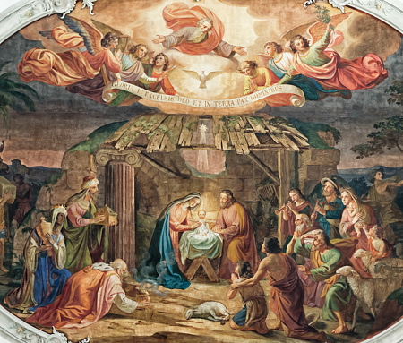 ceiling painting in the church of Appenzell in Switzerland showing the birth of Jesus Christ in the stable of Bethlehem with Maira and Joseph, shepherds, angels and the three kings frame the picture. Gloria in Excelsis deo et in terra pax hominibus.