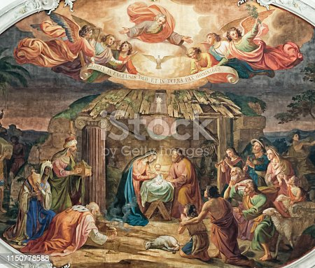 istock Birth of Jesus Christ in the stable of Bethlehem with Maira and Joseph, shepherds and angels 1150778588