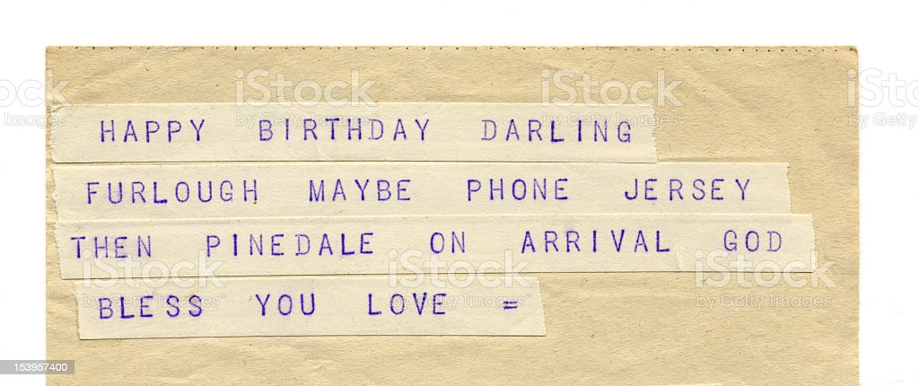 Birthday and Love Greetings on Old Telegram royalty-free stock photo