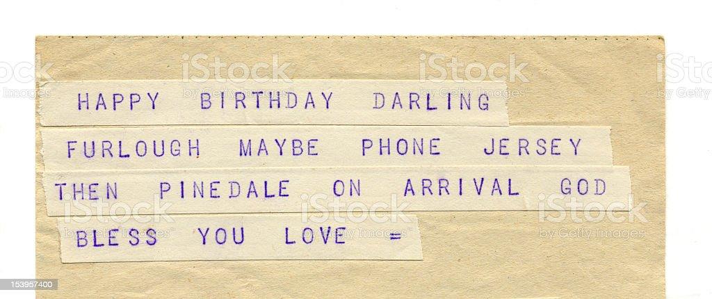 Birthday and Love Greetings on Old Telegram stock photo
