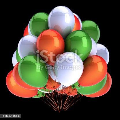 istock birthday balloons bunch green orange white on black background 1163723060