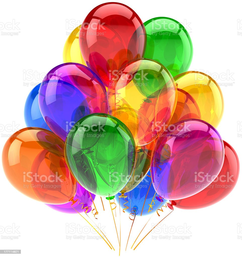Birthday balloons party decoration translucent multicolored royalty-free stock photo