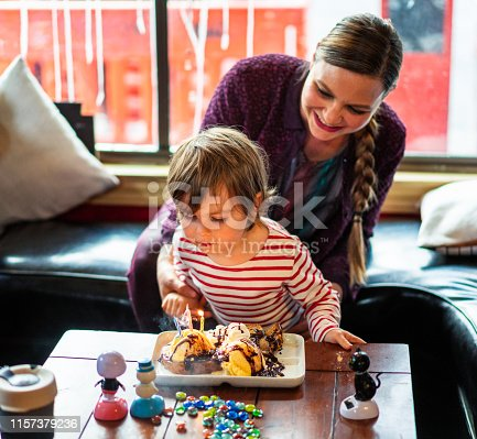 istock Birthday boy blowing out the candles on his cake in a cafe 1157379236