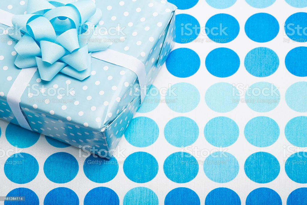 Birthday Boy Blue Party with Present stock photo