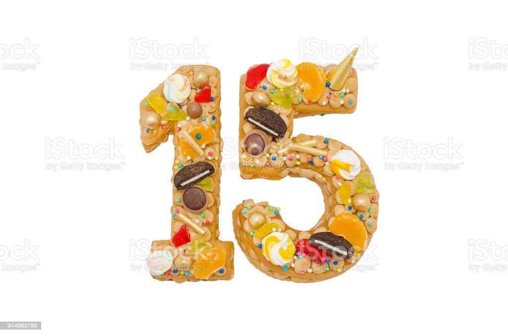 Geburtstagskuchen 15 Mit Verschiedenen Bonbons Isoliert Auf Weiss