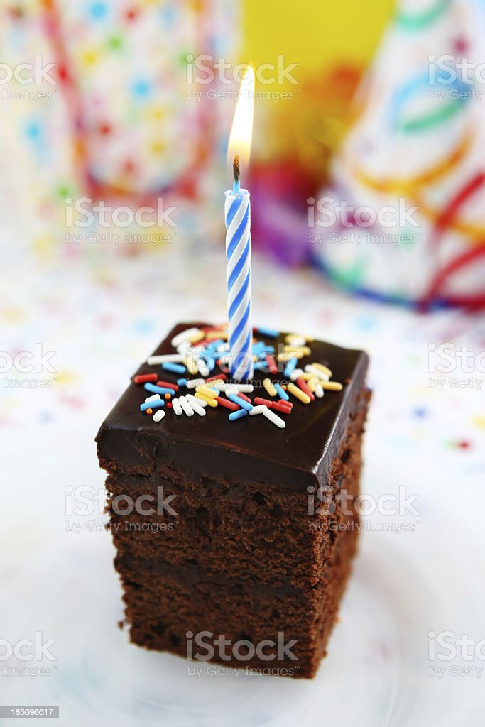 Birthday cake and candle royalty-free stock photo