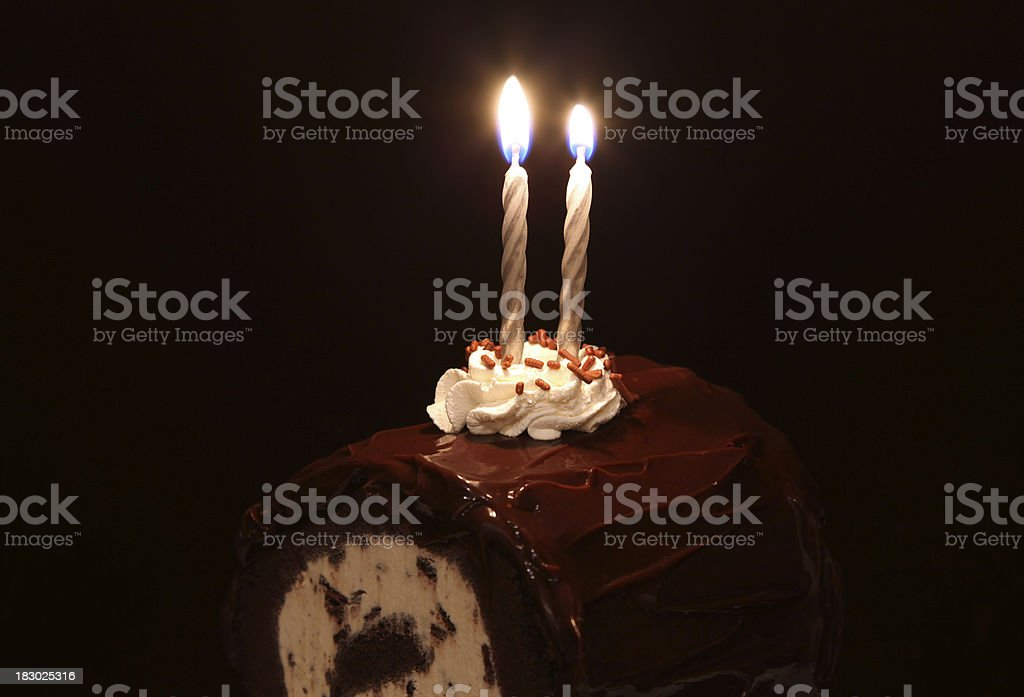Birthday Cake and Candles stock photo
