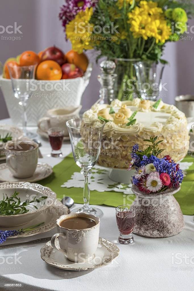 Amazing Birthday Cake And Coffee For A Celebration Stock Photo Download Funny Birthday Cards Online Alyptdamsfinfo