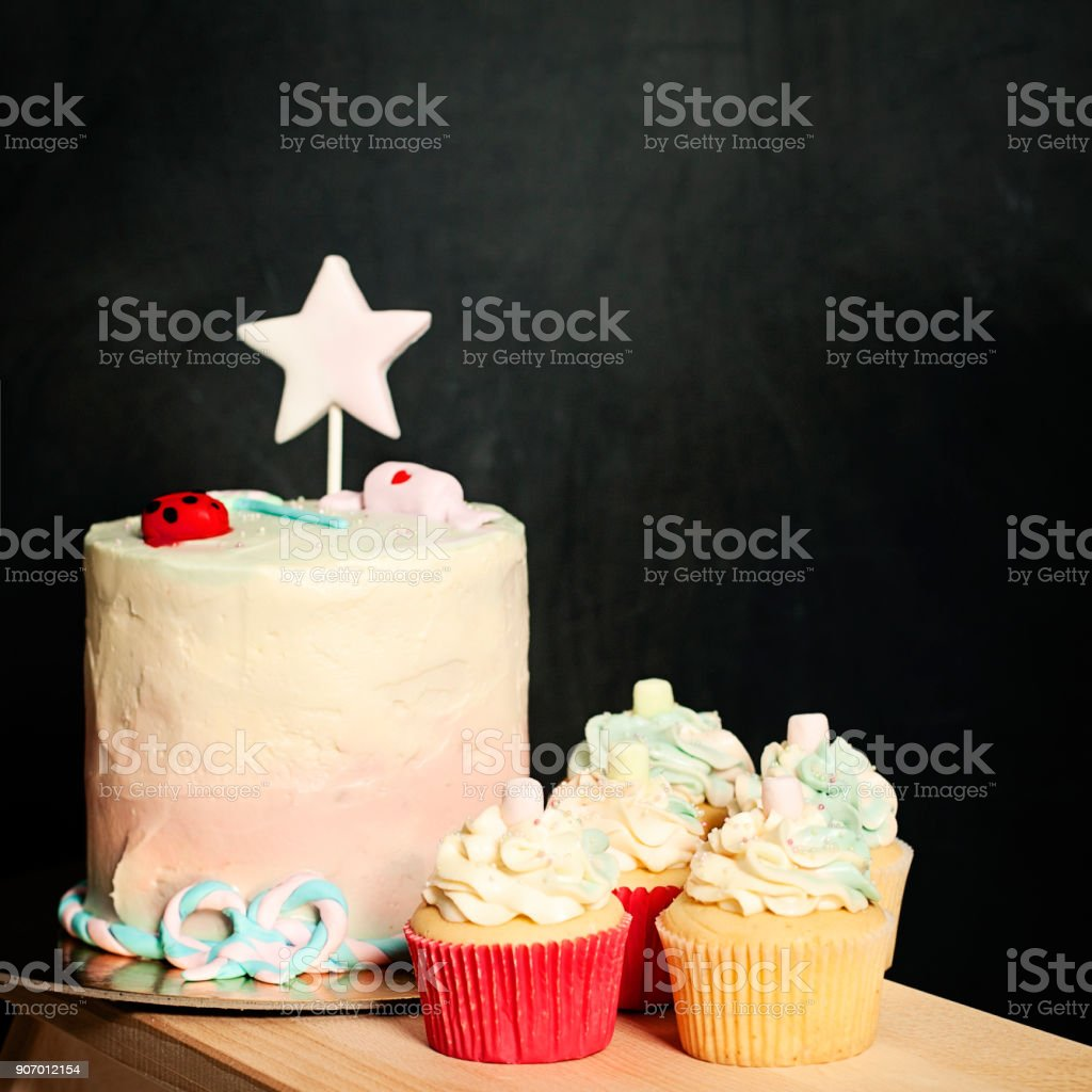 Pleasant Birthday Cake And Cupcakes On Blackboard Background Stock Photo Personalised Birthday Cards Cominlily Jamesorg