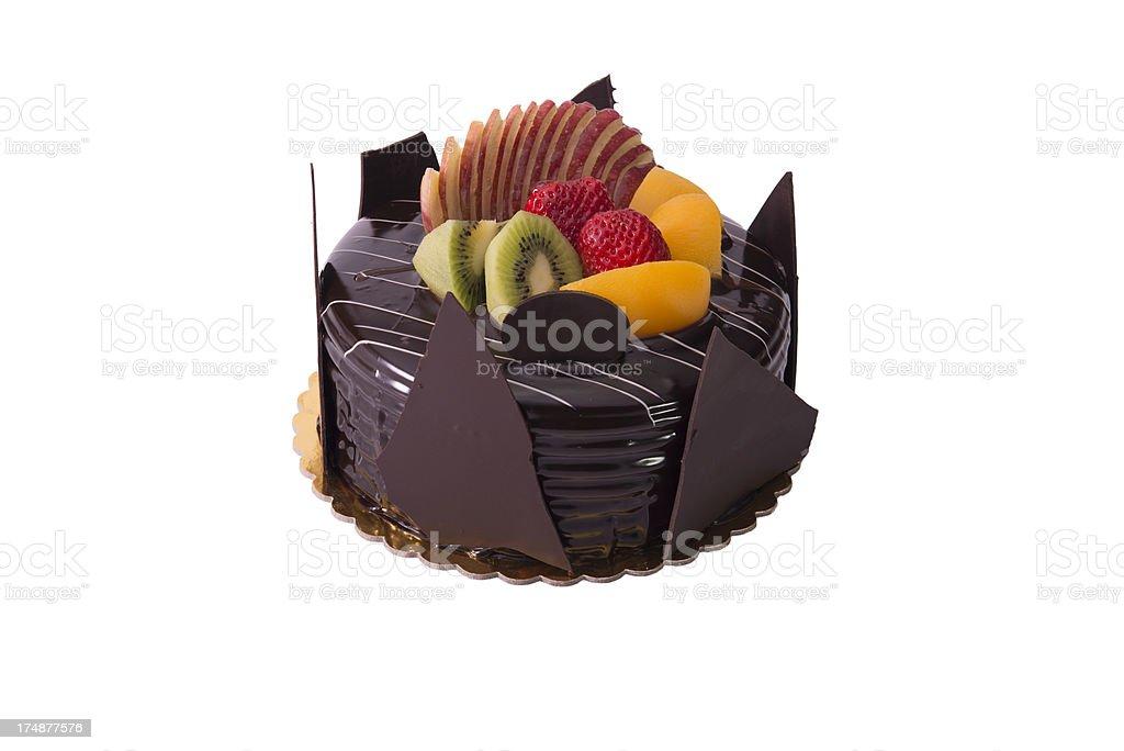 Birthday cake and fruit (XXXL) royalty-free stock photo