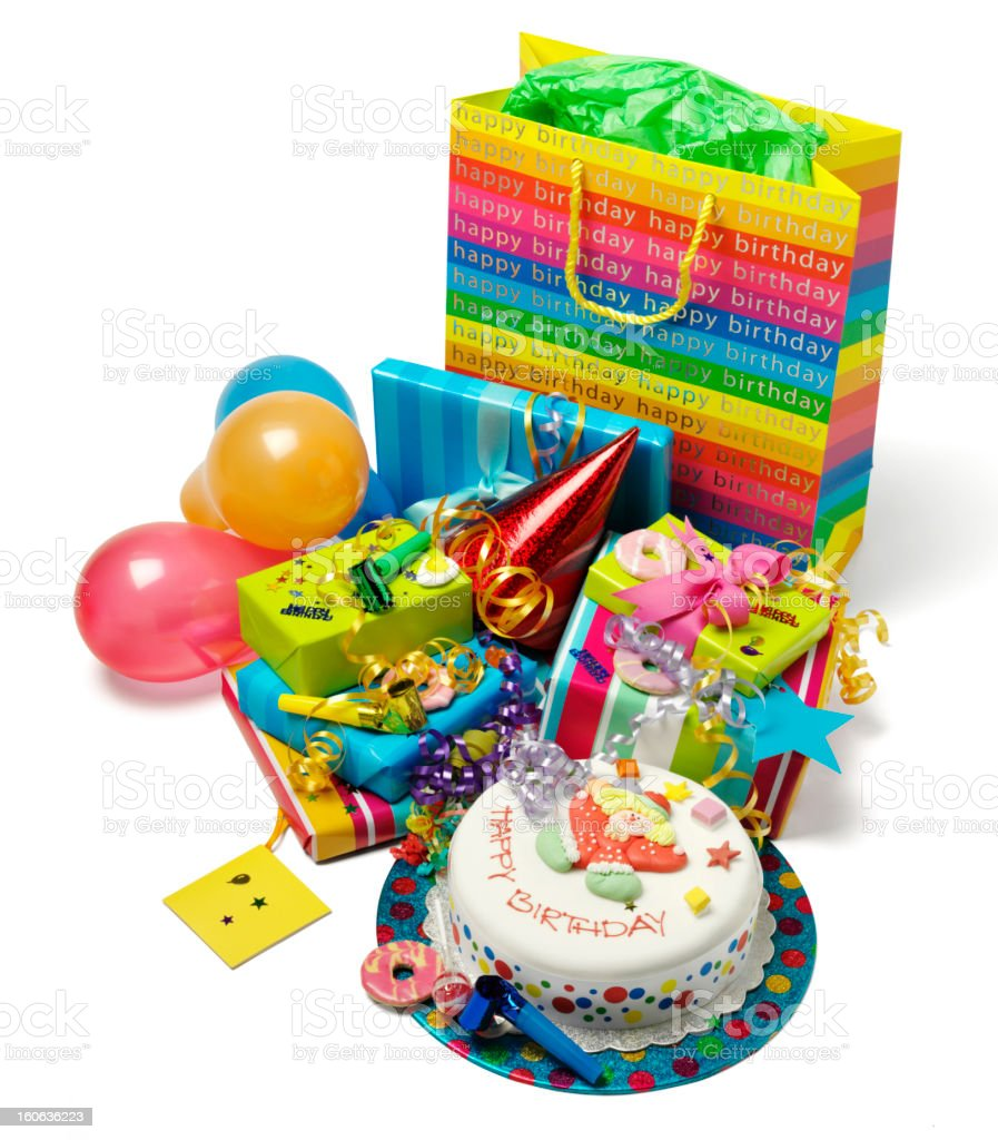 Brilliant Birthday Cake And Gifts At A Party Stock Photo Download Image Birthday Cards Printable Trancafe Filternl
