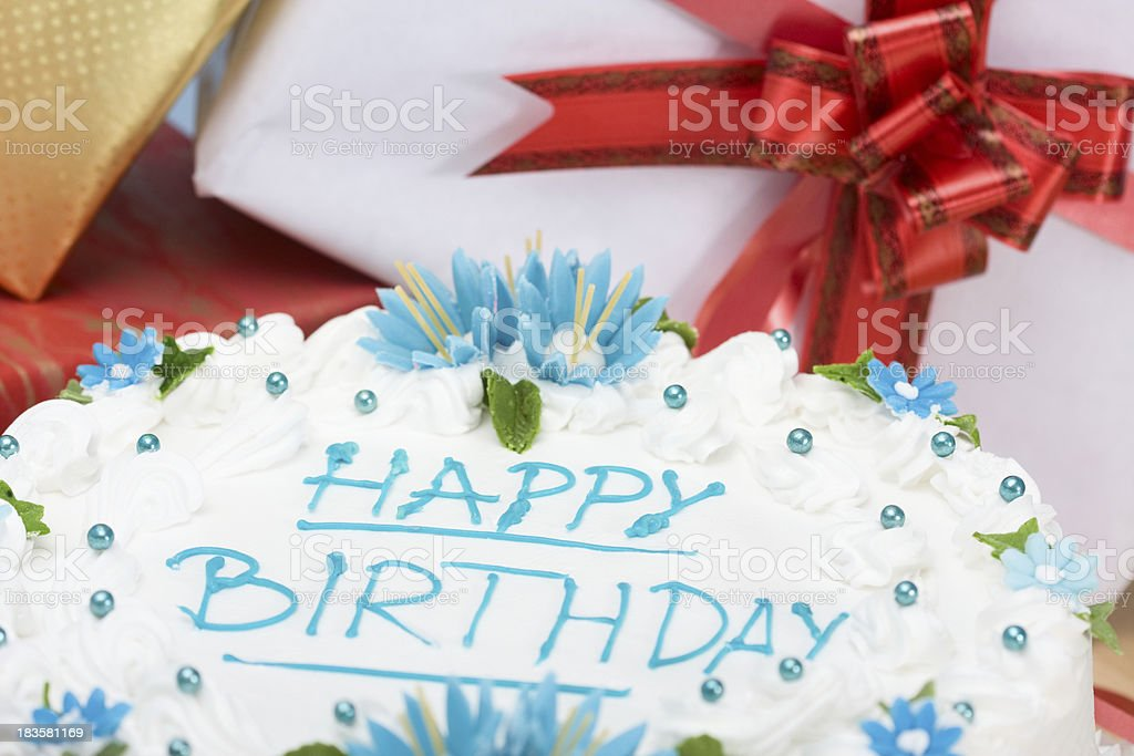 Outstanding Birthday Cake And Presents Stock Photo Download Image Now Istock Funny Birthday Cards Online Chimdamsfinfo
