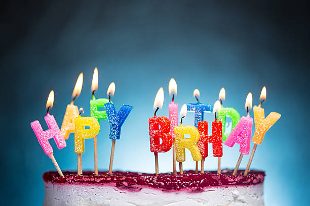 Awe Inspiring Birthday Cake With Lots Of Candles Stock Photos Pictures Funny Birthday Cards Online Hendilapandamsfinfo