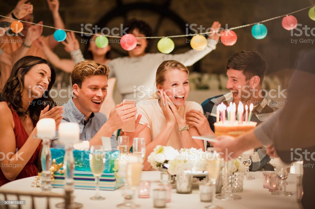 Birthday Cake At A Party stock photo
