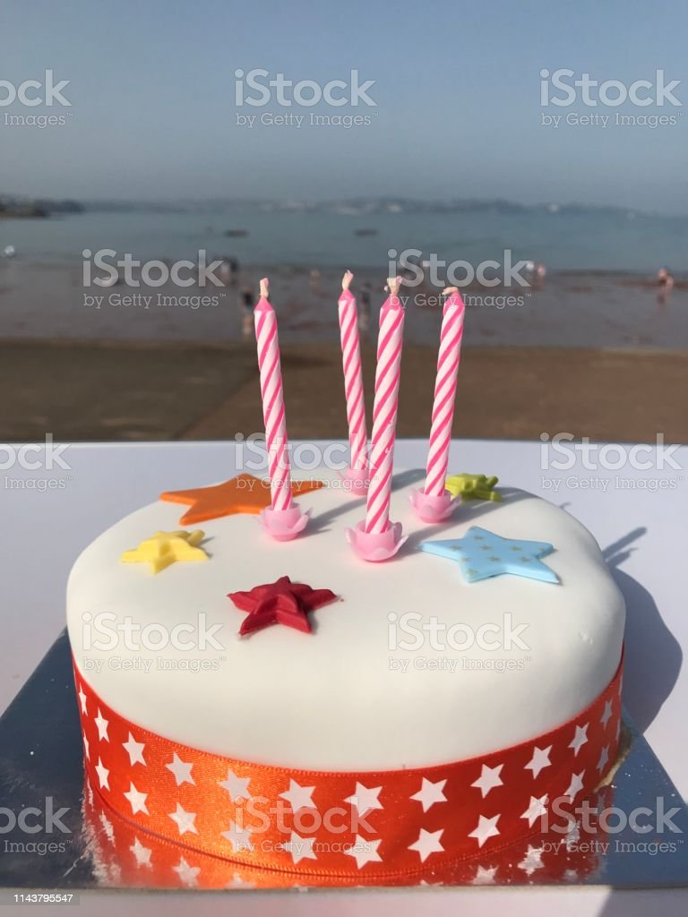 Outstanding Birthday Cake At The Beach Stock Photo Download Image Now Istock Birthday Cards Printable Benkemecafe Filternl