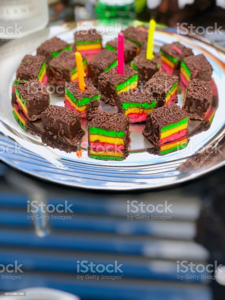 Birthday Cake Bites Rainbow Stock Photo More Pictures Of