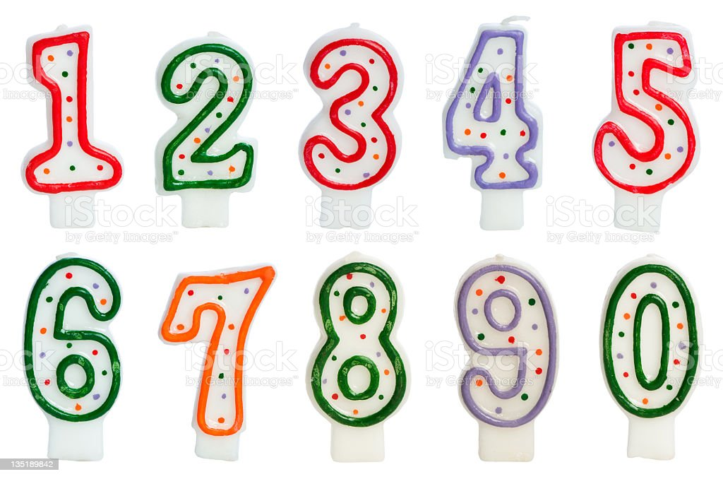 Birthday cake candle numbers with polka dots stock photo