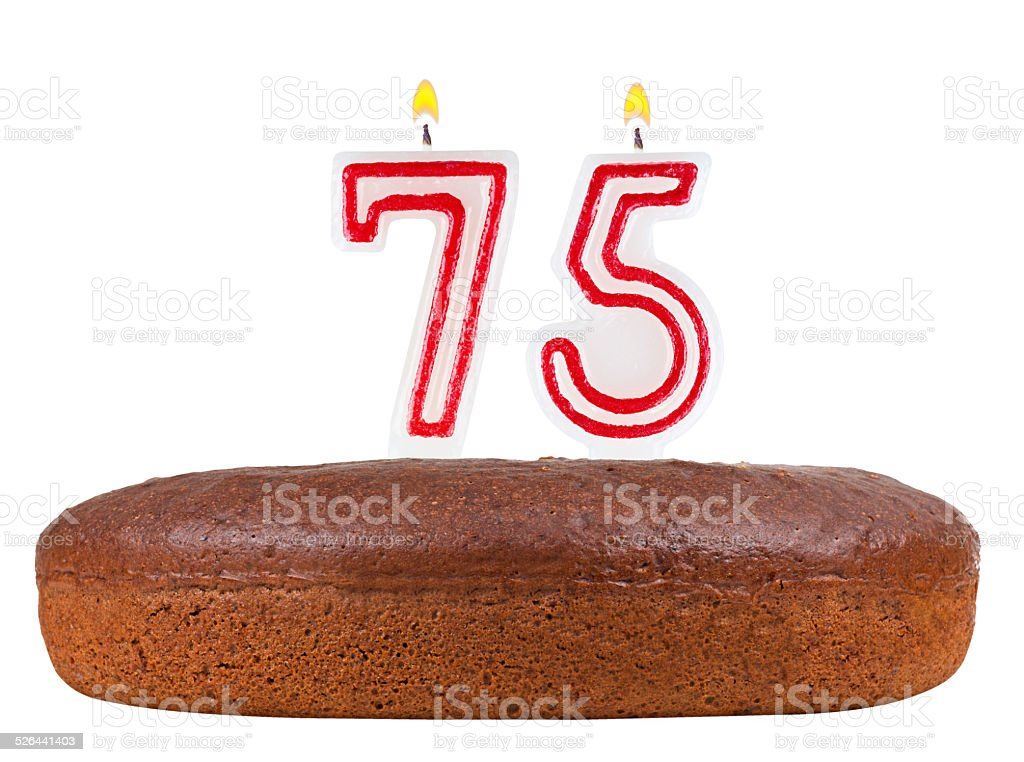 birthday cake candles number 75 isolated stock photo