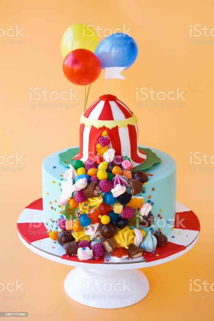 Prime Birthday Cake Decorated With A Circus Tent Colorful Sweets And Personalised Birthday Cards Veneteletsinfo