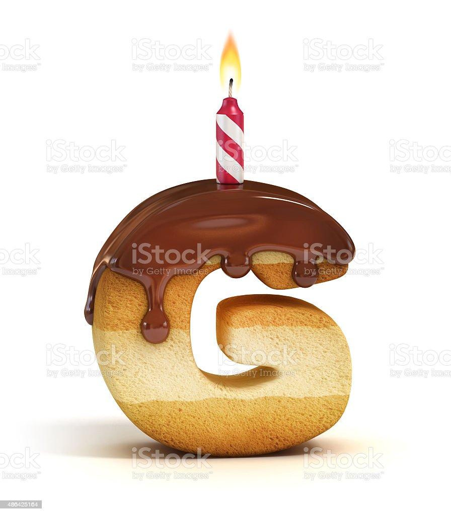 Birthday cake font letter G stock photo