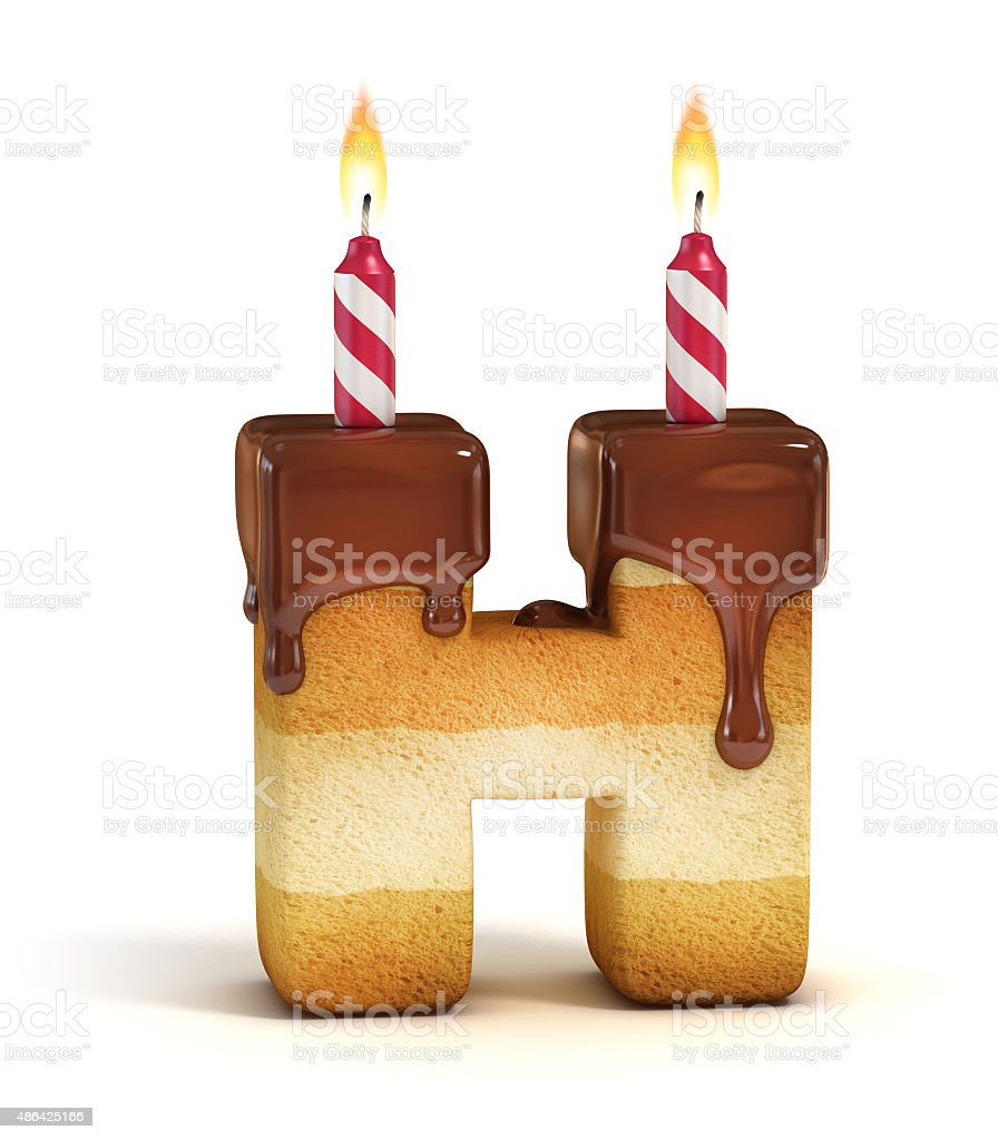 Birthday cake font letter H stock photo