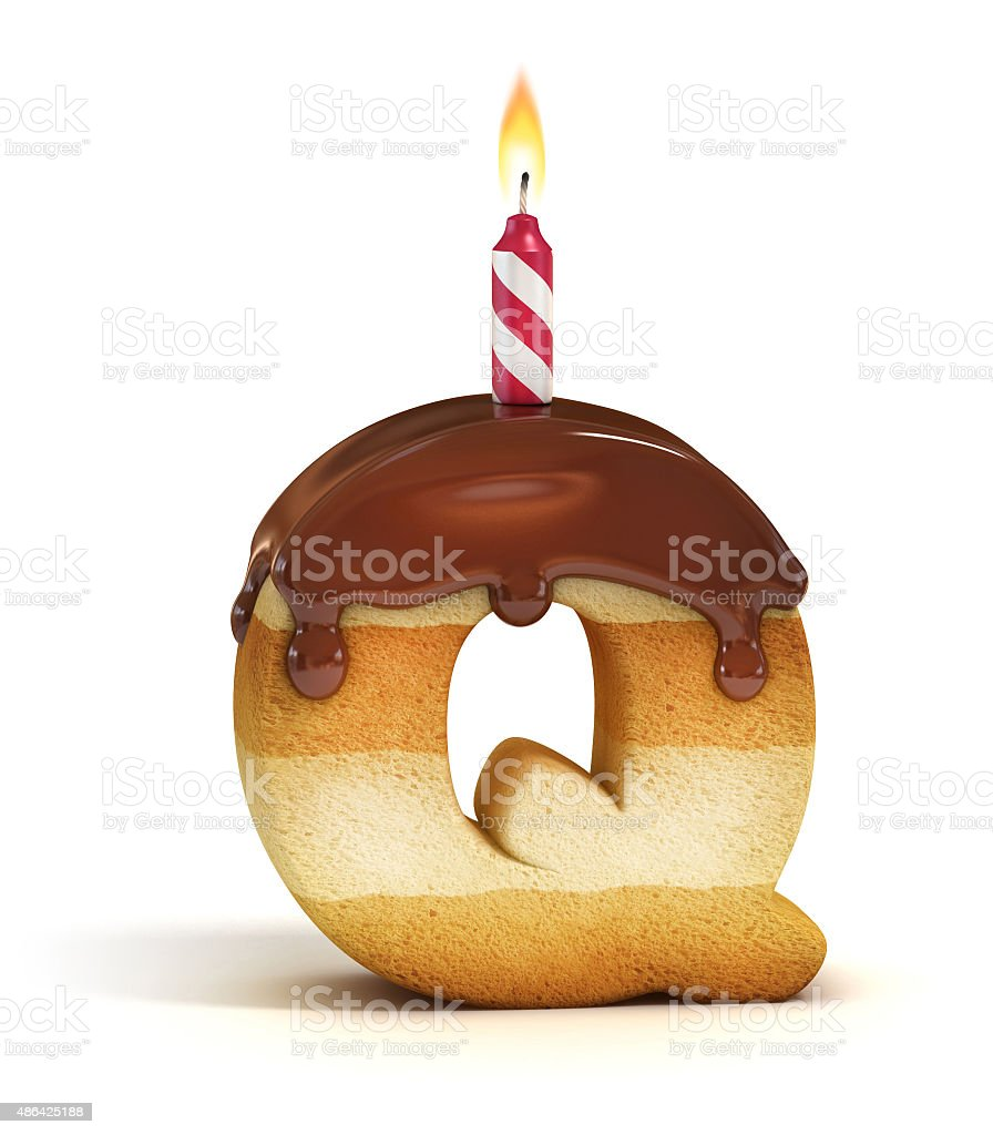Birthday cake font letter Q stock photo