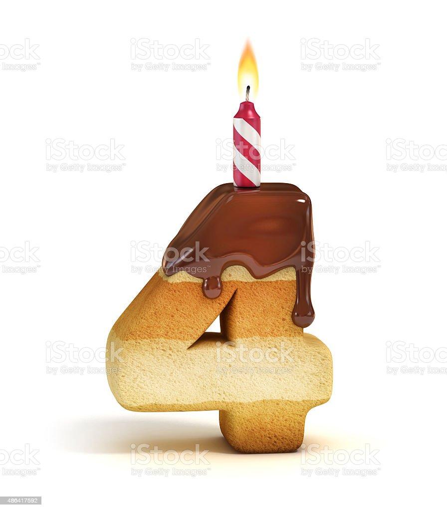 Birthday cake font number 4 stock photo