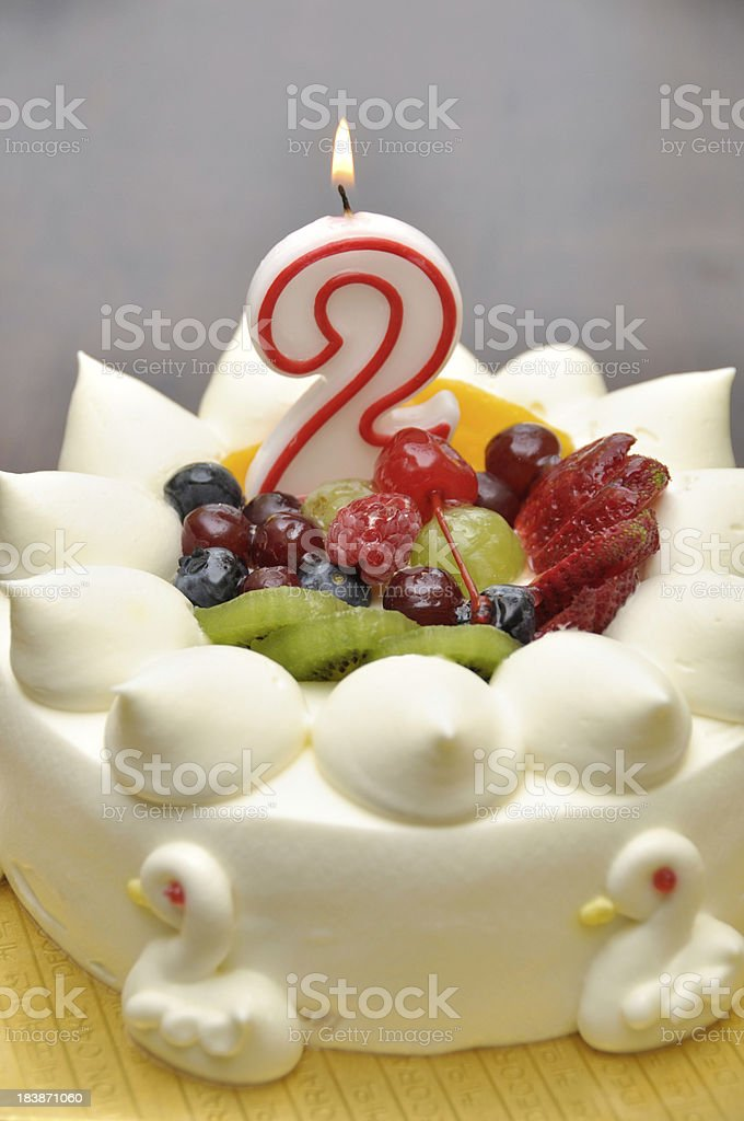 Birthday Cake for 2 year old stock photo