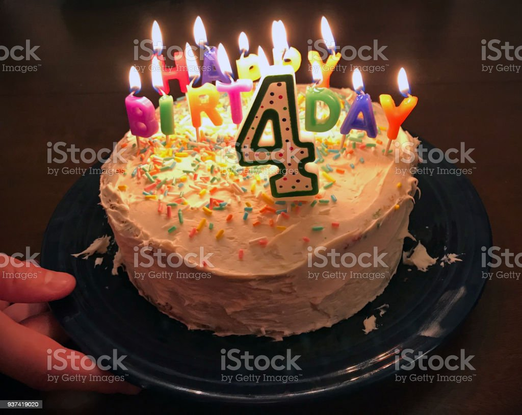 birthday cake for four year old stock photo