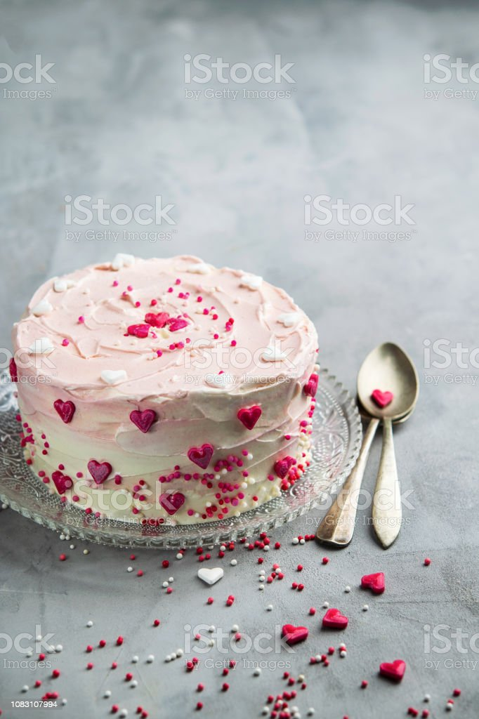 Tremendous Birthday Cake For Valentines Day With Pink Hearts And Colorful Funny Birthday Cards Online Elaedamsfinfo